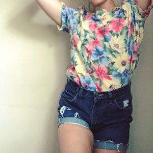 Vintage floral print relaxed tee shirt